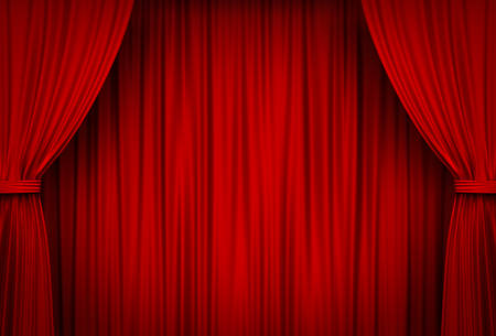 Red Stage Curtains. 3D rendering.