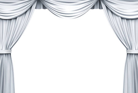 White Stage Curtains isolated over white background . 3D rendering.