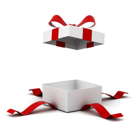 Open gift box present box with red ribbon bow isolated on white background with shadow . 3D rendering. Stock Photo