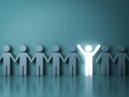Stand out from the crowd and different creative idea concepts One glowing light man standing with arms wide open among other people on dark green background with reflections and shadows. 3D rendering.