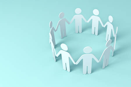 White Paper People Holding Hands In Circle on blue background . 3D rendering.