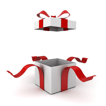Open gift box present box with red ribbon bow isolated on white background with shadow 3D rendering Stock Photo