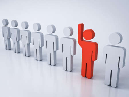 Stand out from the crowd and different creative idea concepts One red man raising his hand among other white people on white gray background with shadows and reflections 3D rendering