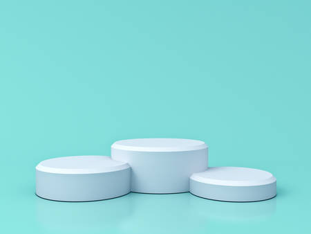 Leeres weißes Podium lokalisiert auf grünem Pastellfarbenhintergrund mit Reflexionen und Schatten 3D-Rendering Standard-Bild