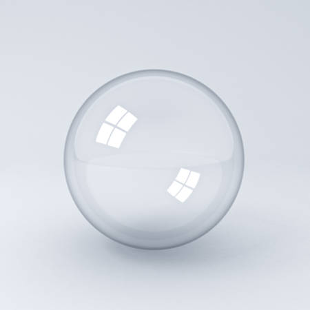 Transparent glass sphere or bubble on white background with shadow 3D rendering