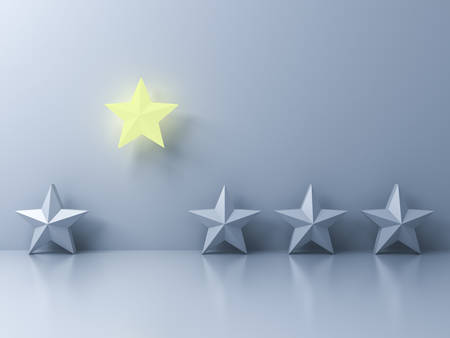 Stand out from the crowd and different creative idea concepts One glowing yellow star shining with other dim stars on white wall background with reflections and shadows 3D rendering