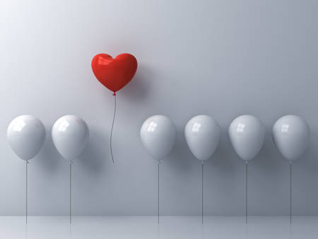 Stand out from the crowd and different concept One red heart balloon flying away from other white balloons on white wall background with shadows 3D rendering Stockfoto