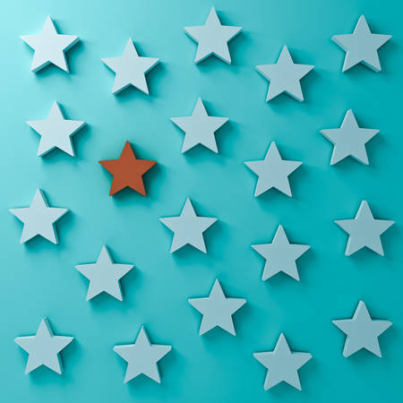 Stand out from the crowd and different creative idea concepts. One red star standing among other white stars on dark  blue-green pastel color background with shadows 3D rendering