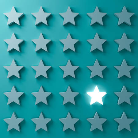 Stand out from the crowd and different creative idea concepts. One glowing star standing among other dim stars on dark  blue-green pastel color background with shadows 3D rendering 스톡 콘텐츠