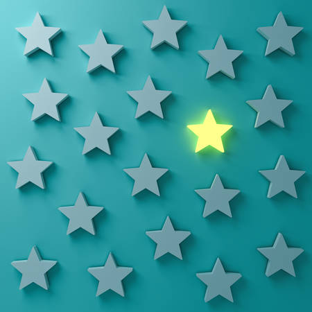 Stand out from the crowd and different creative idea concepts. One glowing star standing among other dim stars on dark  blue-green pastel color wall background with shadows 3D rendering 스톡 콘텐츠