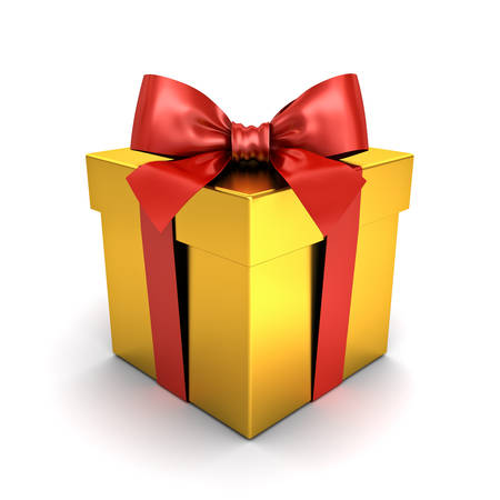 Gold gift box or present box with red ribbon bow isolated on white background with shadow 3D rendering Banque d'images - 110021555