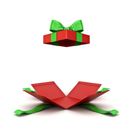 Open christmas gift box or red present box with green ribbon bow isolated on white background with shadow 3D rendering