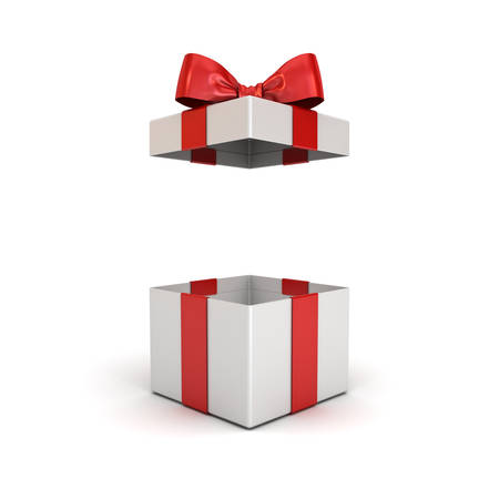 Open gift box or present box with red ribbon bow isolated on white background with shadow 3D rendering Reklamní fotografie