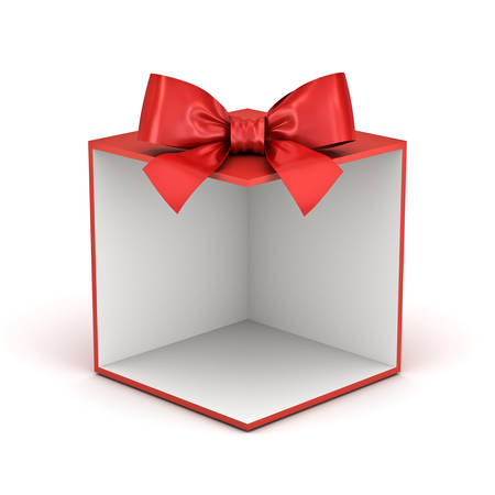 Blank red gift box backdrop or red present box with red ribbon bow isolated on white background with shadow 3D rendering