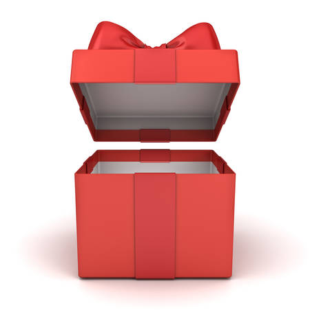 Open gift box or blank red present box with red ribbon bow isolated on white background with shadow 3D rendering