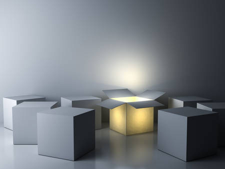 Stand out from the crowd Different creative idea concepts One luminous opened box glowing among others closed white square boxes on dark white room background with reflections and shadows 3D rendering