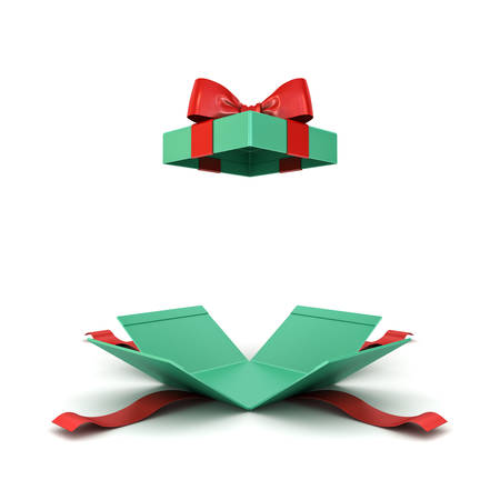 Open christmas gift box or green present box with red ribbon and bow isolated on white background with shadow 3D rendering