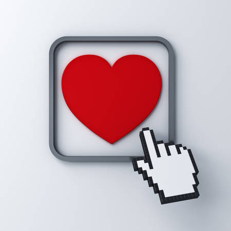 Love heart button with computer hand cursor isolated on dark white background 3D rendering