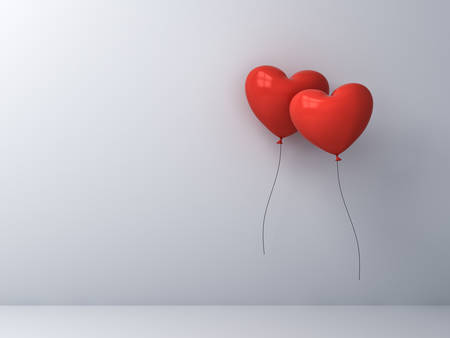 Two red heart shape balloons being together over white wall background Love couple concept for valentines day 3D rendering