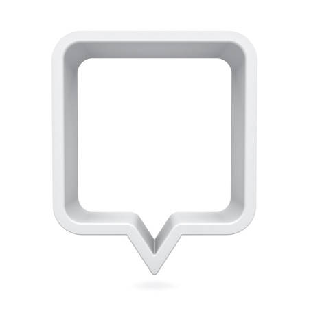 3d speech bubble or blank white rounded square chat pin isolated on white background with shadow 3D rendering Stockfoto