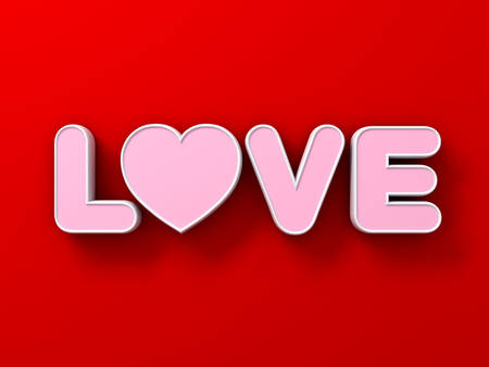 3d word love on red wall background with shadows 3D rendering