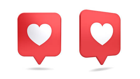 3d social media notification love like heart icon in red rounded square pin isolated on white background with shadow 3D rendering Reklamní fotografie
