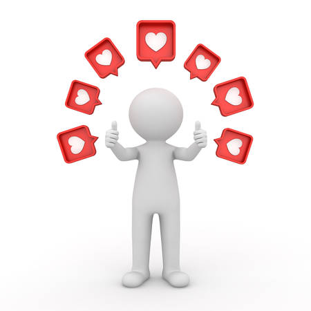 3d man standing and doing like thumbs up hand with many social media notification love like heart icon pins above his head isolated on white background with shadow 3D rendering