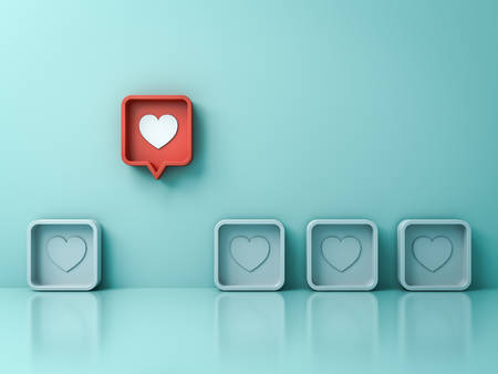 Stand out from the crowd and different creative idea concepts One red 3d social media notification love like heart pin icon pop up from others on light green pastel color wall background 3D rendering