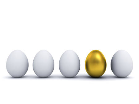 One golden egg standing out from the white eggs leadership and individuality creative idea the different concept 3D rendering