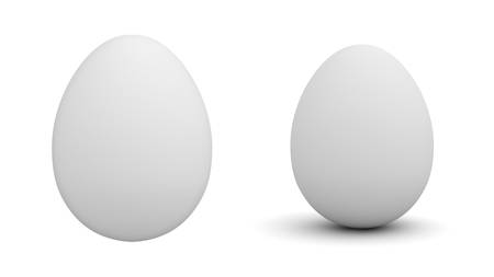 White egg isolated over white background with shadow 3D rendering