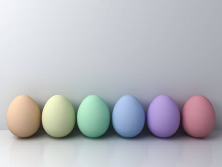 Colorful Easter eggs on white background with shadows and reflections 3D rendering