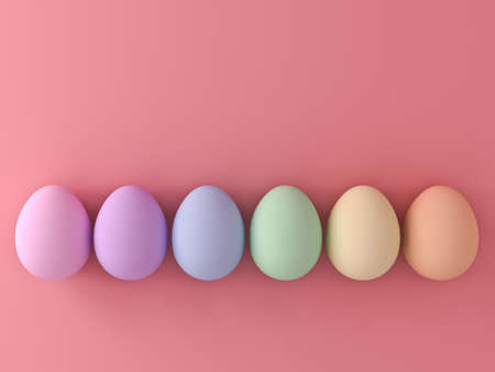 Colorful Easter eggs on pink pastel color background with shadows 3D rendering