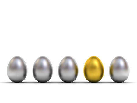 One gold egg standing out from the metallic silver eggs leadership and different creative idea the business concepts isolated on white background with shadow 3D rendering Stockfoto