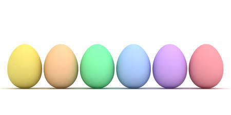 Colorful Easter eggs isolated over white background with shadow 3D rendering