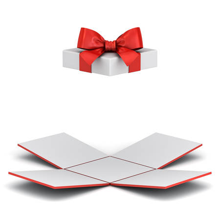 Open gift box or unfold present box with red ribbon bow isolated on white background with shadow 3D rendering Stockfoto