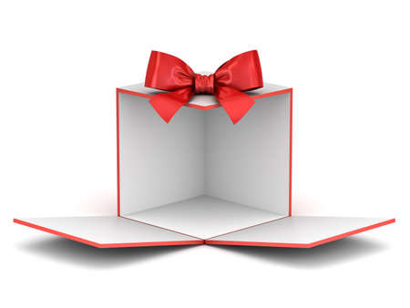 Blank display gift box backdrop unfold for your product or present box showcase with red ribbon bow opening isolated on white background with shadow 3D rendering