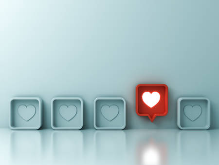 One red social media notification love like heart pin icon pop up from others on light green pastel color wall background Stand out from the crowd and different creative idea concepts 3D rendering