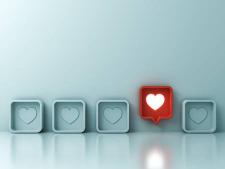 Une notification rouge sur les réseaux sociaux aime comme une icône de broche de coeur surgissant des autres sur un fond de mur de couleur pastel vert clair Se démarquer de la foule et de différents concepts d'idées créatives rendu 3D