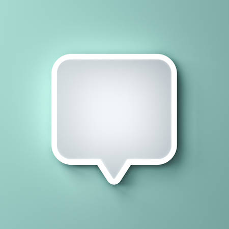 Blank neon light white speech bubble pin or Chat pop up notification icon isolated on green pastel color wall background with shadow 3D rendering Stockfoto