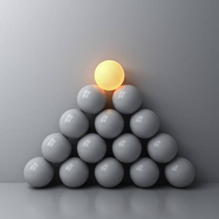 Stand out from the crowd and Leadership creative idea concepts One luminous sphere shining on top of the other dim spheres on white wall background with reflections and shadows 3D rendering Stockfoto