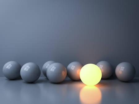 Heben Sie sich von der Masse ab und führen Sie kreative Ideenkonzepte Eine leuchtende Kugel, die zwischen anderen dunklen Kugeln auf weißem Hintergrund im Dunkeln mit Reflexionen und Schatten 3D-Rendering leuchtet