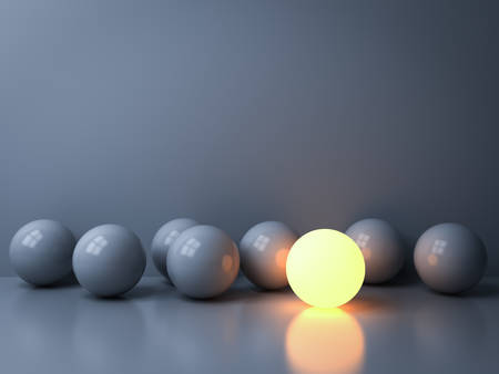 Stand out from the crowd and Leadership creative idea concepts One luminous sphere shining among other dim spheres on white background in the dark with reflections and shadows 3D rendering