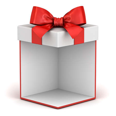 Blank gift box or present box showcase with red ribbon bow isolated on white background with shadow 3D rendering Stockfoto