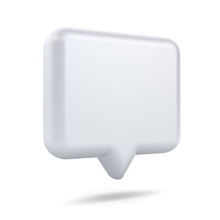 Blank white 3d speech bubble pin isolated over white background with shadow 3D rendering Stockfoto