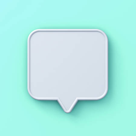Blank white 3d speech bubble pin isolated on light green blue pastel background with shadow 3D rendering Stockfoto