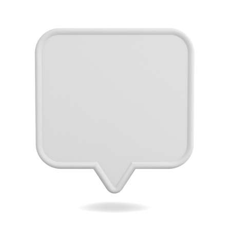 Blank white speech bubble pin isolated on white background with shadow 3D rendering Stockfoto
