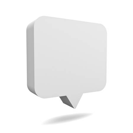 Blank 3d white speech bubble pin isolated over white background with shadow 3D rendering