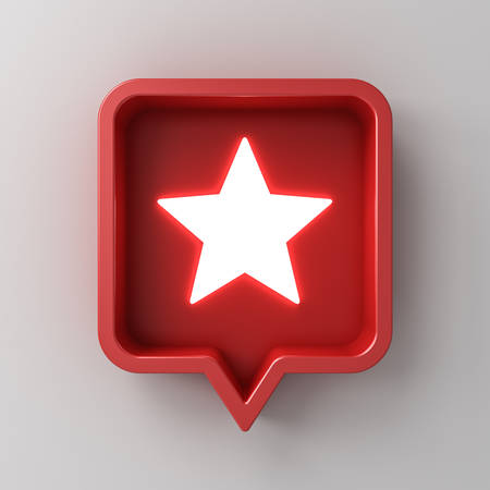 3d social media notification neon light star icon in red rounded square pin isolated on white wall background with shadow 3D rendering