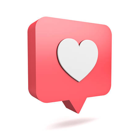 3d social media notification love like heart icon in red rounded square pin isolated on white background with shadow 3D rendering Stockfoto