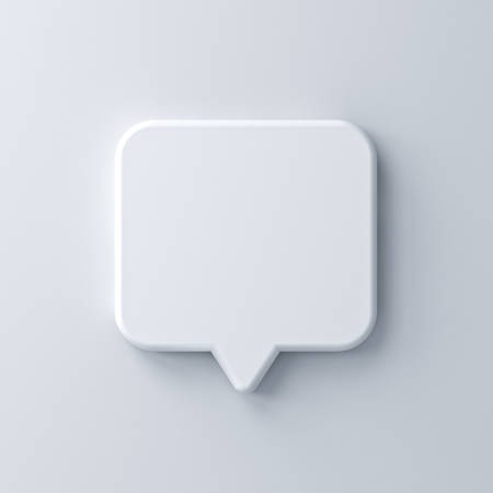 Blank white speech bubble pin isolated on white wall background with shadow 3D rendering Stockfoto
